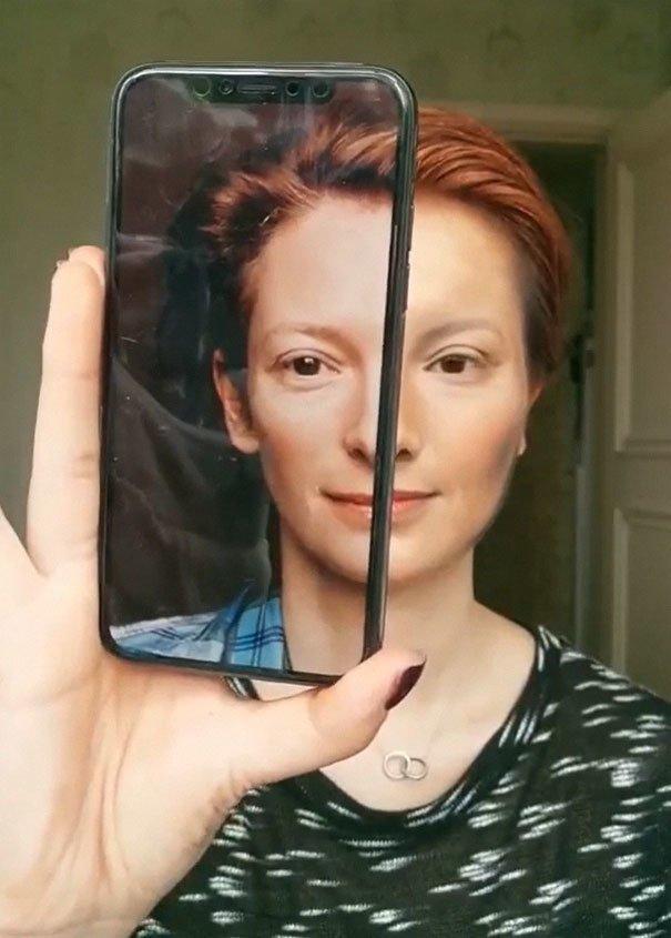 Хи - Тильда Суинтон визаж, волшебство макияжа, джоконда, макияж, мона лиза, необычный эксперимент, творчество, чудо косметики