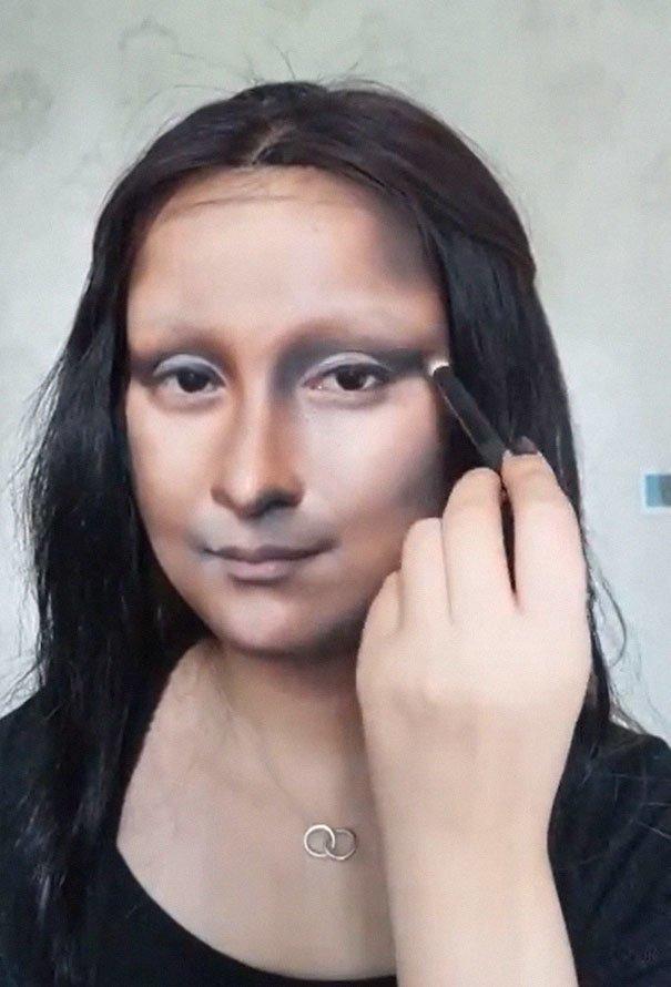 Китайская блогерша превратила себя в Мону Лизу визаж, волшебство макияжа, джоконда, макияж, мона лиза, необычный эксперимент, творчество, чудо косметики