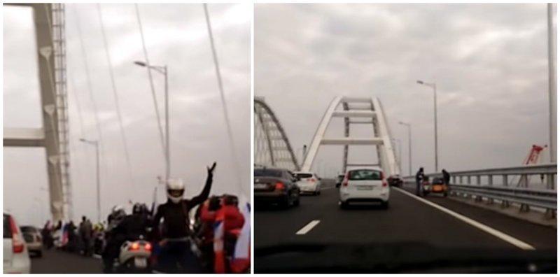 Целая колонна байкеров нарушили ПДД на Крымском мосту ynews, байкеры, видео, интересное, мост, ночные волки, фото