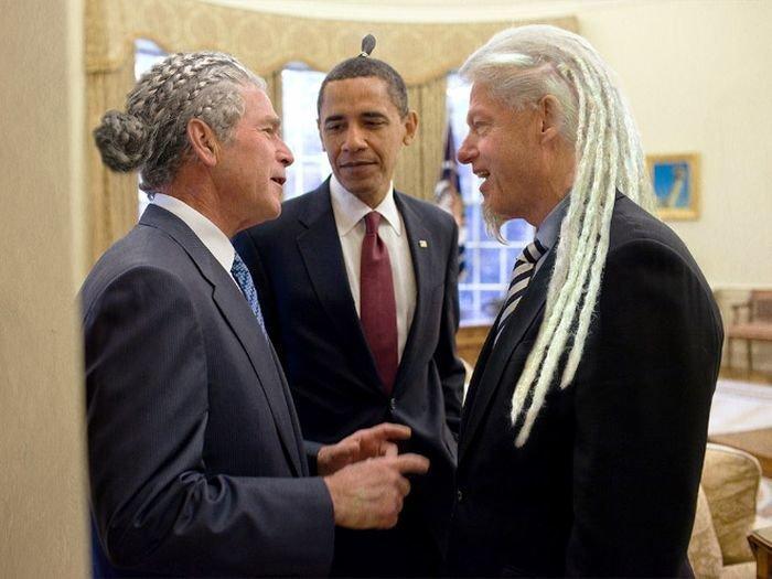 Если бы у известных политиков были другие прически забавно, мировые лидеры, новый образ, политики, приколы, прически, прически пучок, юмор