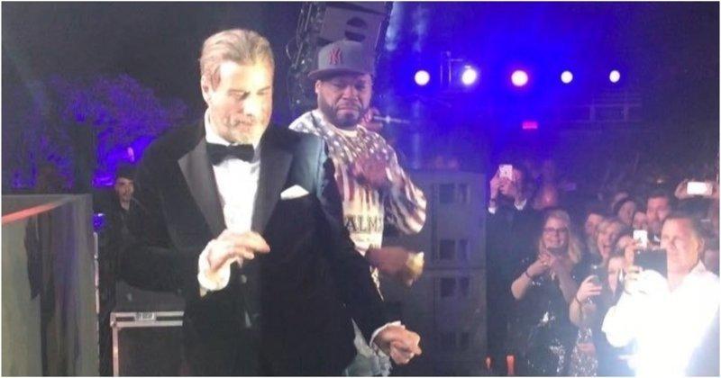 Джон Траволта станцевал в Каннах во время выступления 50 Cent 50 cent, Кодекс Готти, актер, видео, джон траволта, знаменитости, рэп, танец