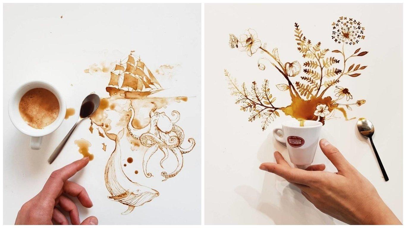 Рисунки кофе на бумаге для начинающих