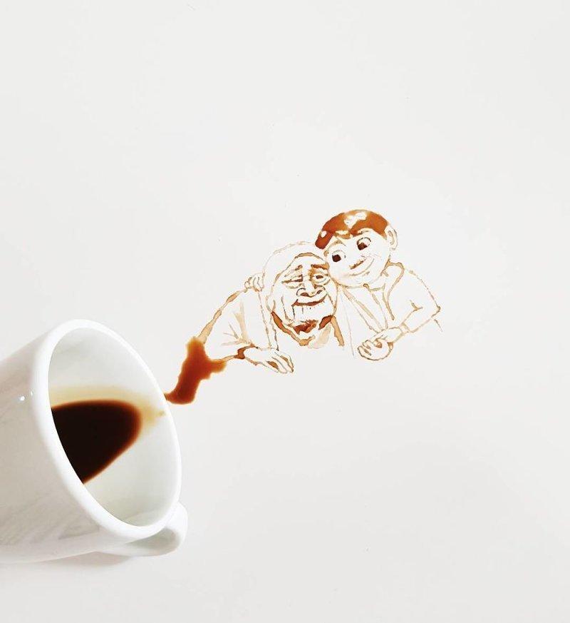 23. интересное, кофе, красота, необычные, рисунки, фуд-арт, художница