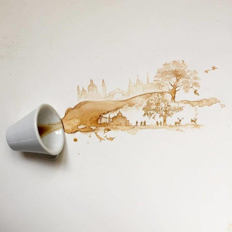 2. интересное, кофе, красота, необычные, рисунки, фуд-арт, художница