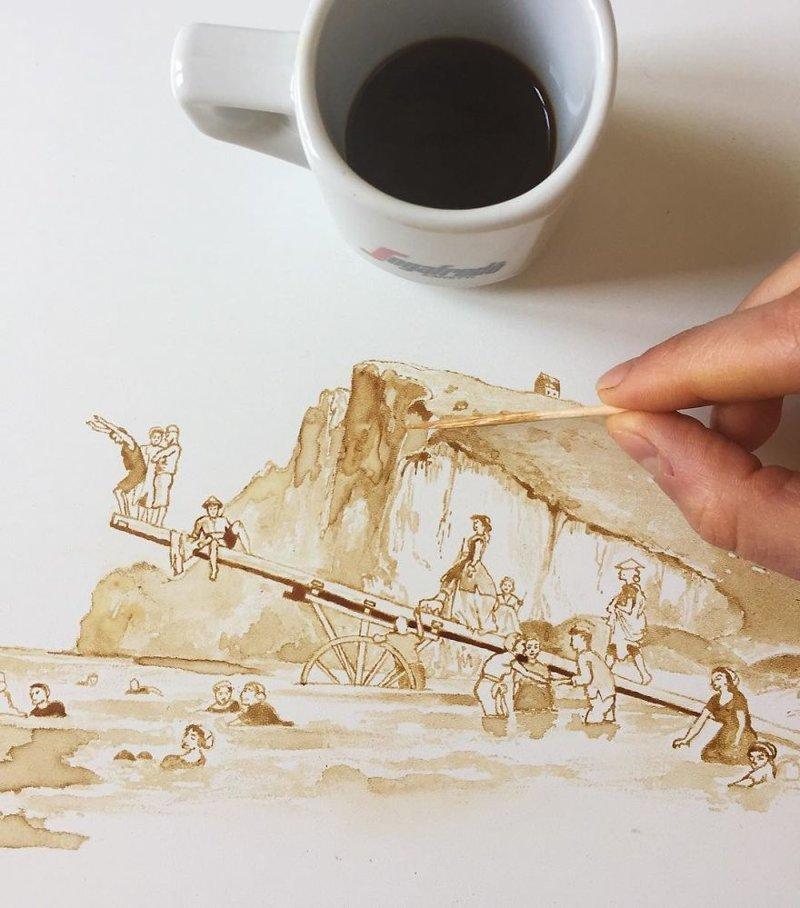 4. интересное, кофе, красота, необычные, рисунки, фуд-арт, художница