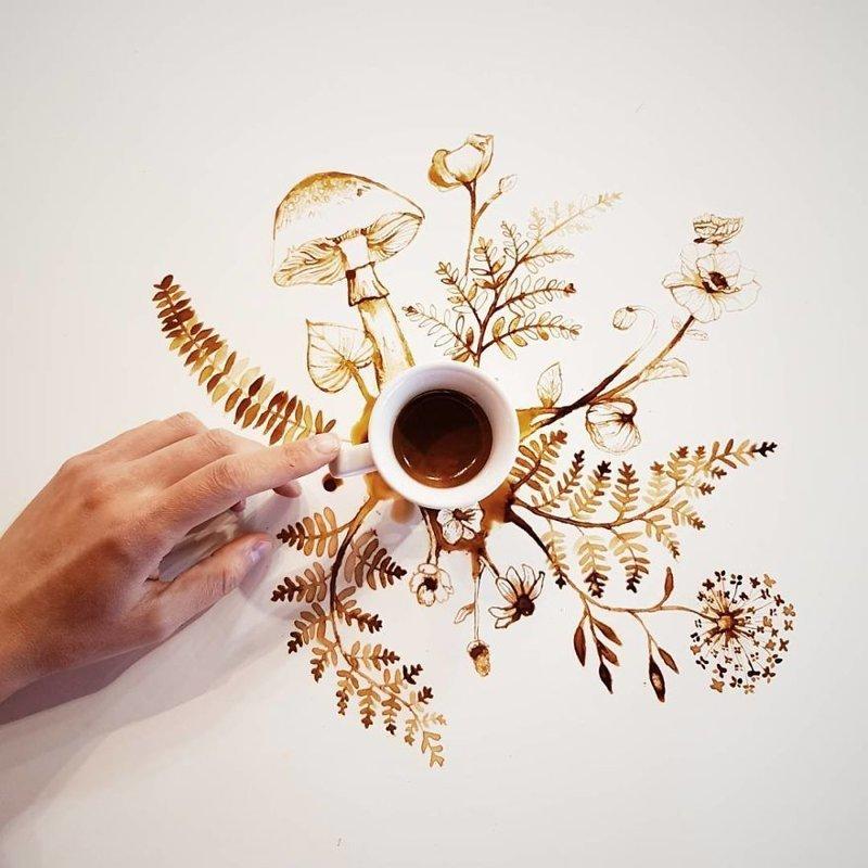 6. интересное, кофе, красота, необычные, рисунки, фуд-арт, художница