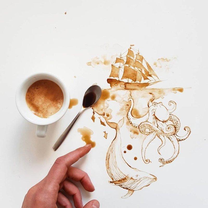 1. интересное, кофе, красота, необычные, рисунки, фуд-арт, художница