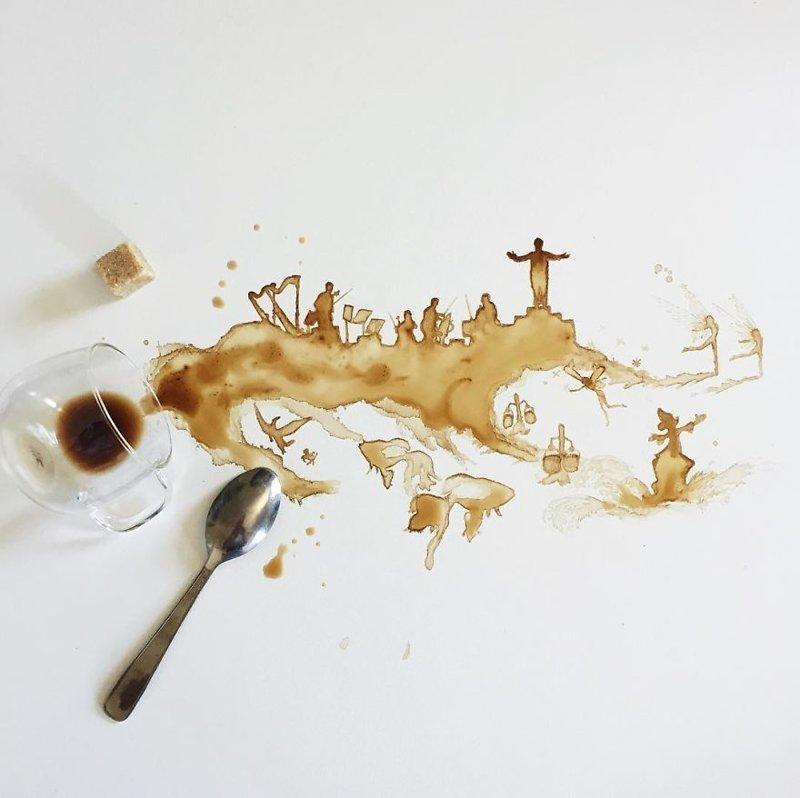 10. интересное, кофе, красота, необычные, рисунки, фуд-арт, художница