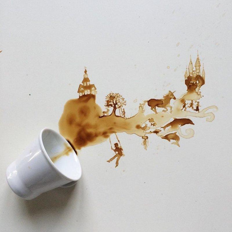 13. интересное, кофе, красота, необычные, рисунки, фуд-арт, художница