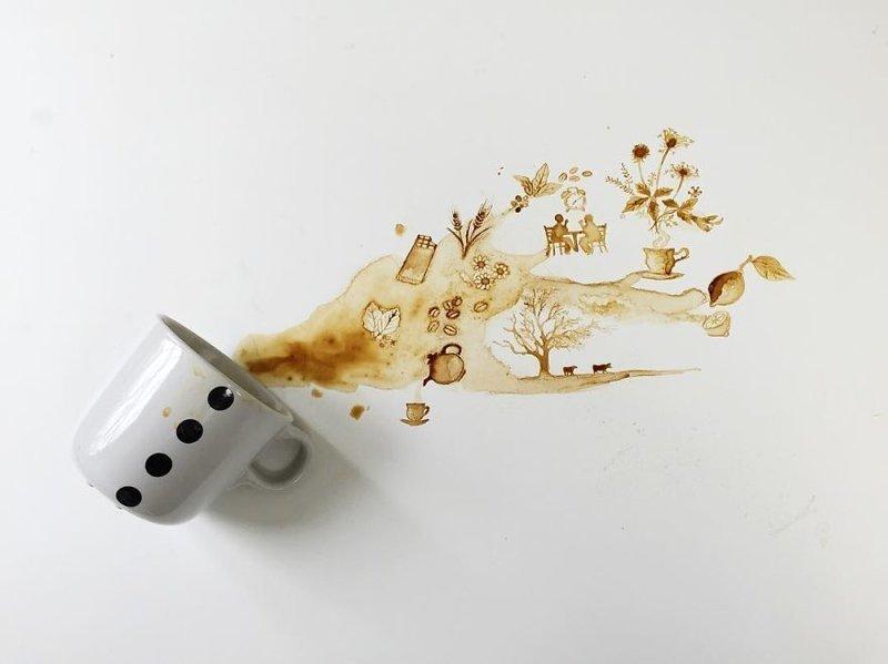 16. интересное, кофе, красота, необычные, рисунки, фуд-арт, художница