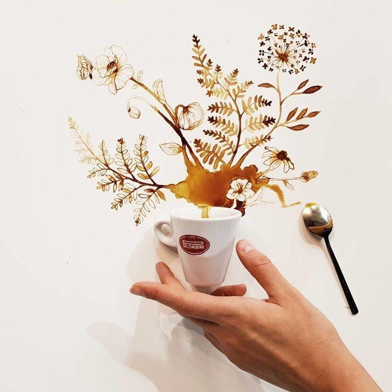 9. интересное, кофе, красота, необычные, рисунки, фуд-арт, художница