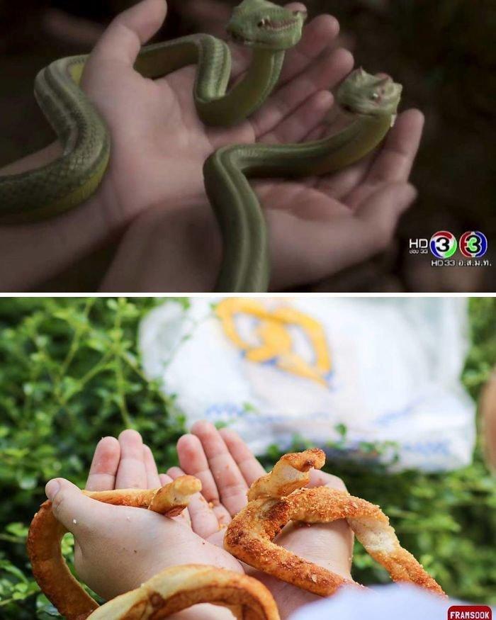 Аппетитные змейки  девушка, звезды, знаменитости, наряд, образ, продукты, фото