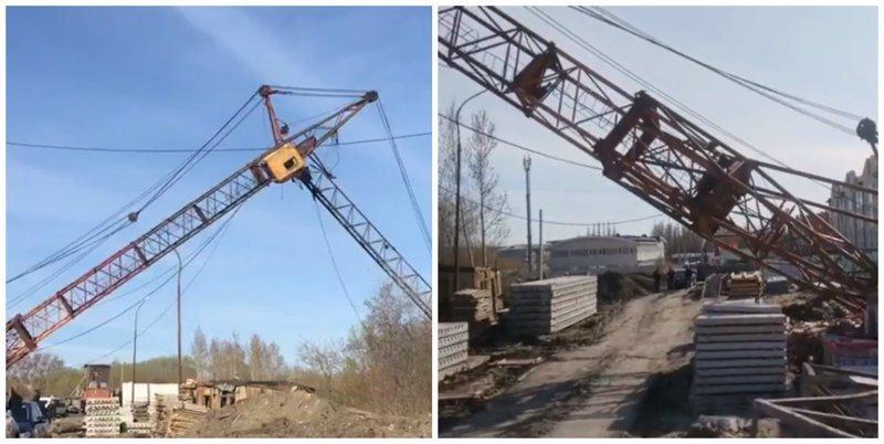В Омске снова упал башенный кран, есть пострадавшие ynews, башенный кран, видео, интересное, кран, омск, фото