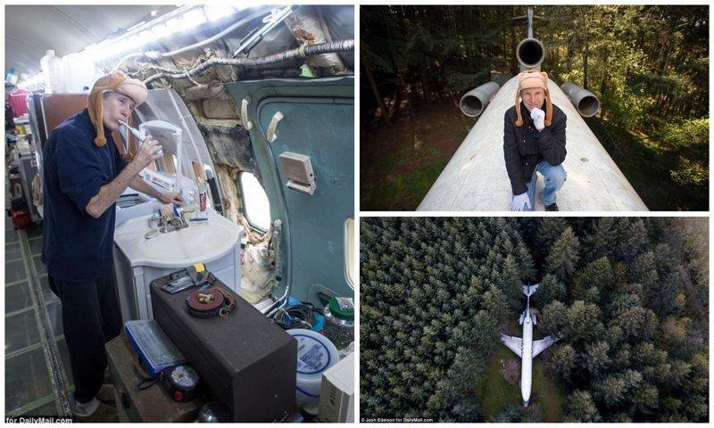 Американский пенсионер уже 15 лет живет в самолёте посреди леса жизнь в лесу, интересные люди, истории, люди, пенсионер, самолет, сша, фото