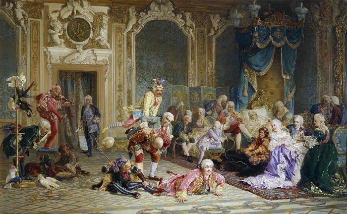 Шуты при дворе императрицы Анны Иоанновны. В. Якоби, 1872 год. история, россия, царица