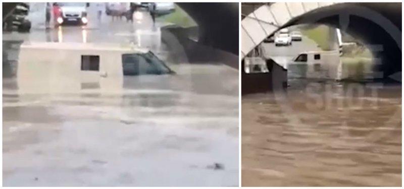 Инкассаторская машина ушла под воду вместе с экипажем ynews, видео, дождь, инкассатор, интересное, краснодарский край, машина