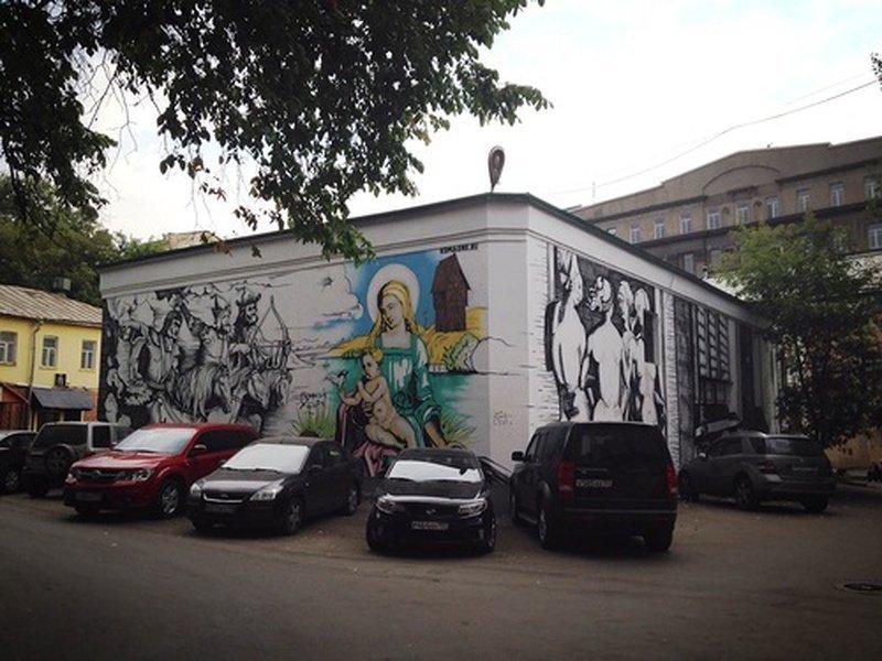 Трансформаторная будка одного из московских дворов украшена репродукциями Дюрера, автор - Максим Косаткин граффити, законопроект, москва, стрит-арт