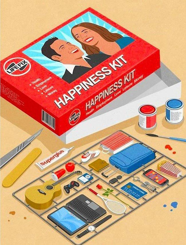 """""""Набор для счастья"""" иллюстрации, ирония, искусство, на злобу дня, общество, сатира, современное общество, художник"""