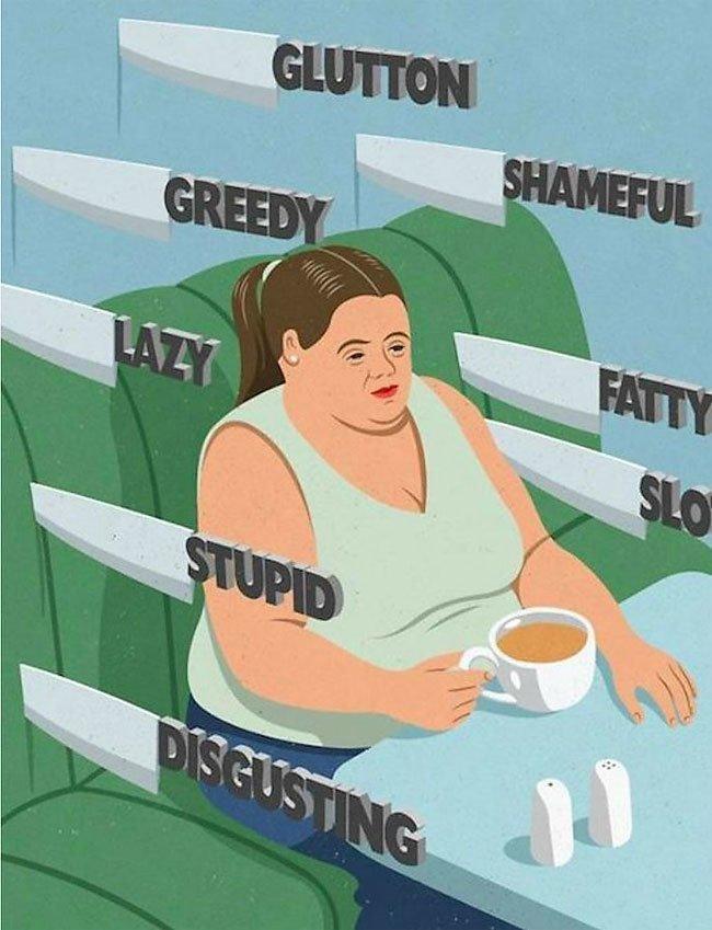 """""""Обжора, позорище, толстуха, ленивая, глупая, отвратная.."""" иллюстрации, ирония, искусство, на злобу дня, общество, сатира, современное общество, художник"""