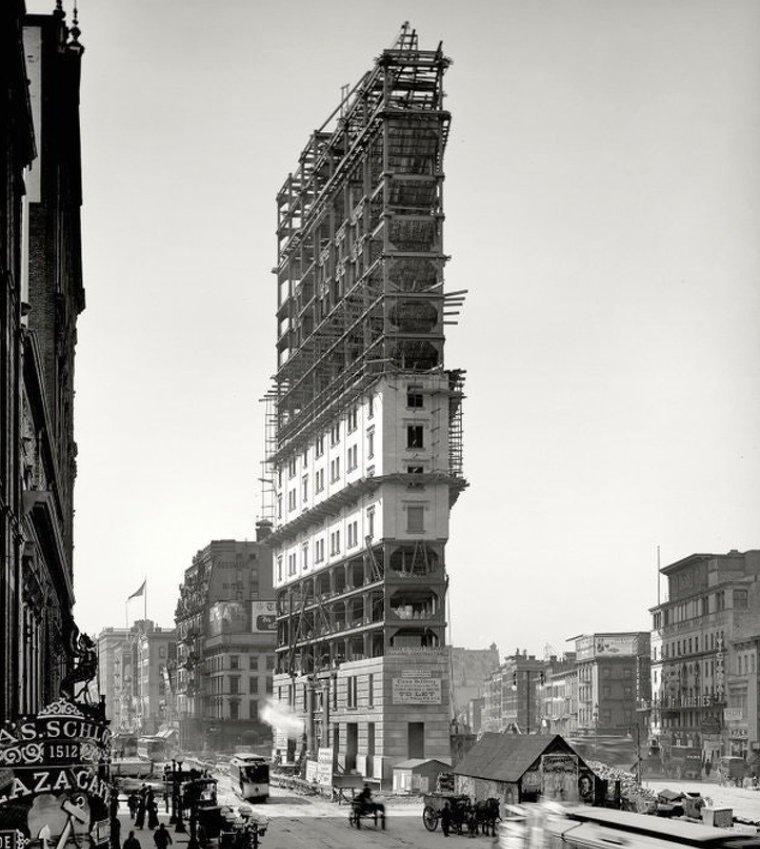 Стройка на Лонгакр сквер в Нью-Йорке, 1902 год истории, любопытно, люди и мир, новый взгляд, познавательно, репортажные снимки, фото, фотографии