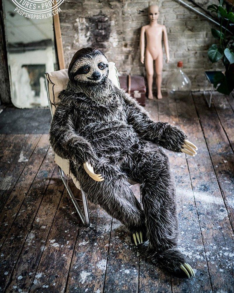 Художнице удалось создать невероятно реалистичный костюм ленивца костюм, ленивец, своими руками, художница