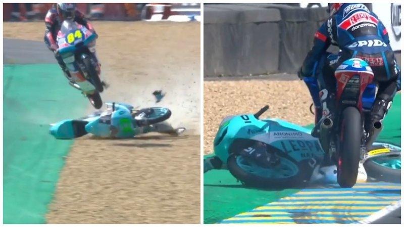 Гонщик избежал аварии, и использовав мотоцикл соперника ynews, авария, видео, гонки, интересное, мотоцикл, соперник