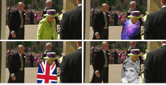 """Шутники """"примерили"""" на королеву подходящие, по их мнению, к случаю костюмы Меган Маркл, забавно, королевская свадьба, приколы, принц гарри, свадебный юмор, смешно, юмор"""
