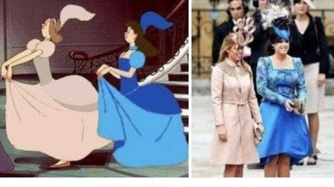 Кажется, при подборе нарядов девушки консультировались на студии Disney Меган Маркл, забавно, королевская свадьба, приколы, принц гарри, свадебный юмор, смешно, юмор