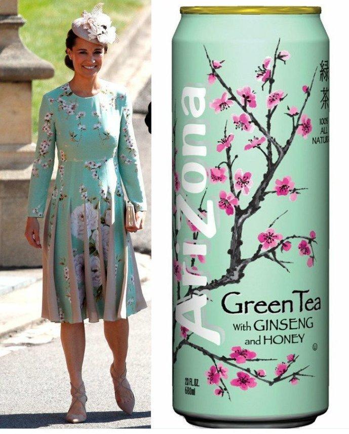 Дизайн платья Пиппы Миддлтон показался удивительно знакомым любителям холодного чая в банках Меган Маркл, забавно, королевская свадьба, приколы, принц гарри, свадебный юмор, смешно, юмор