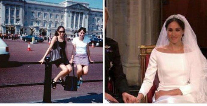 На правом фото Меган Маркл позирует у королевского дворца 15 лет назад. Могла ли она знать... Меган Маркл, забавно, королевская свадьба, приколы, принц гарри, свадебный юмор, смешно, юмор