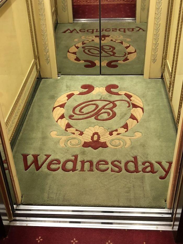 6. В этом лифте каждый день меняют коврики, на которых указан день недели в мире, дизайн, дизайнеры, красота, креатив, лифтк, фантази