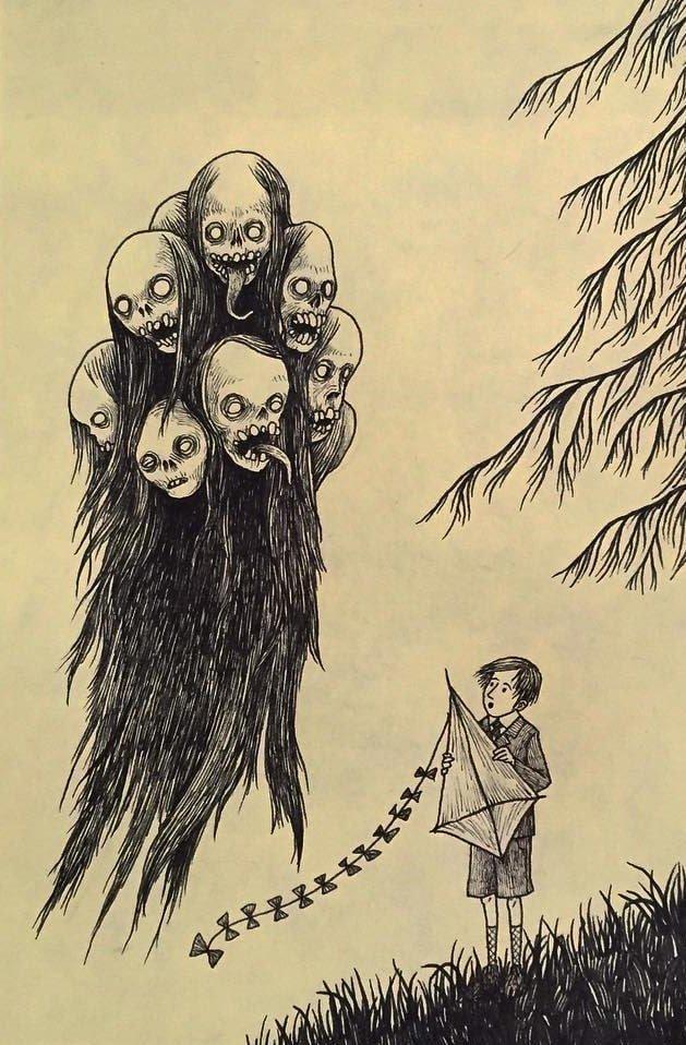 13. Ветрено иллюстрация, рисунок, страх, ужас, фантазия, художник