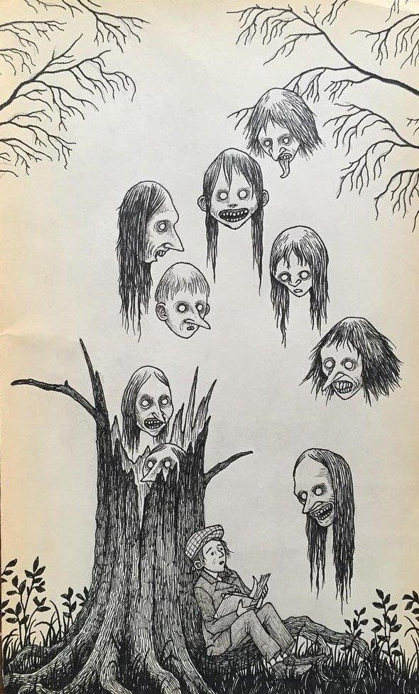 17. Летающие головы иллюстрация, рисунок, страх, ужас, фантазия, художник
