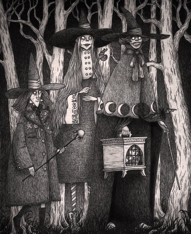 29. Три ведьмы иллюстрация, рисунок, страх, ужас, фантазия, художник