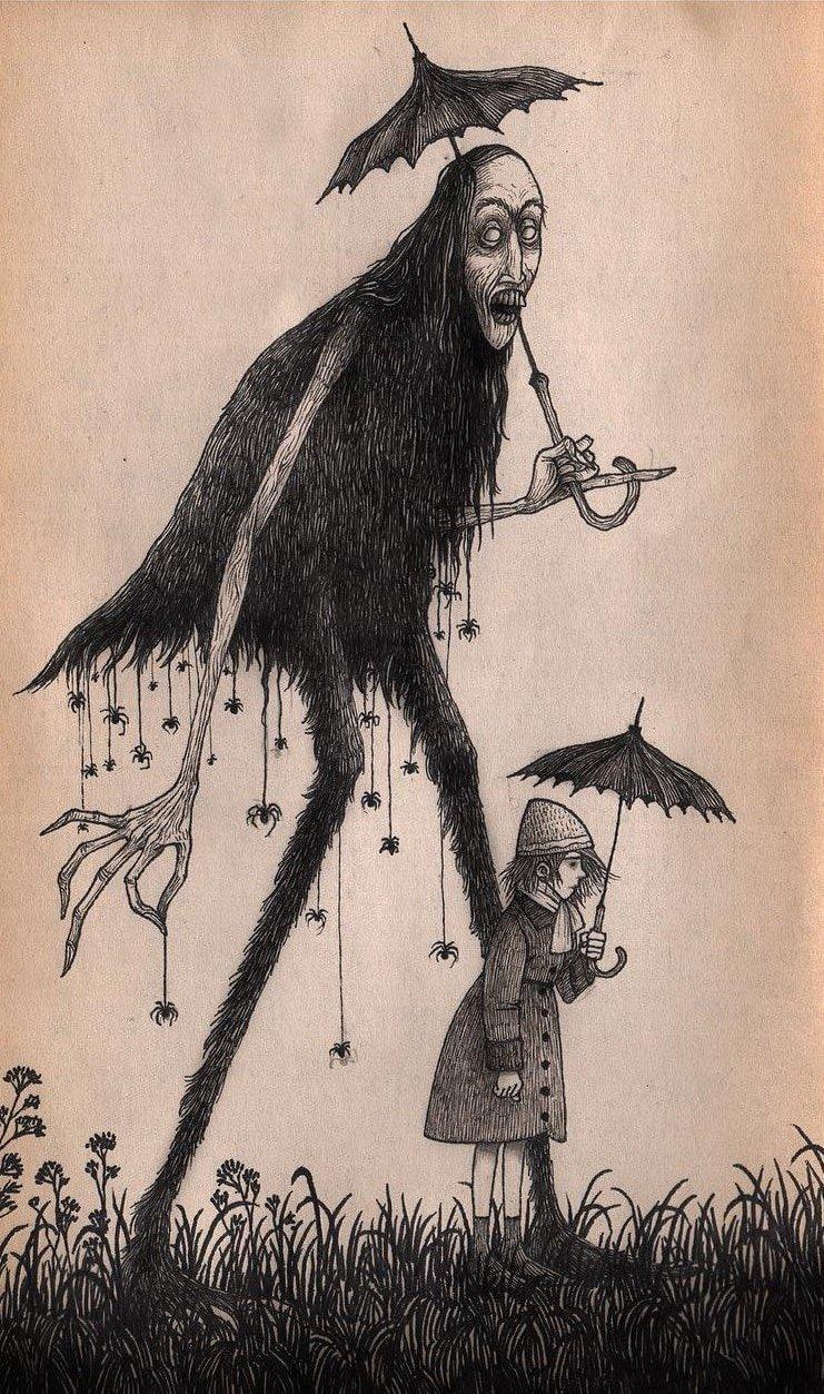 20. Пауки, зонты и монстры иллюстрация, рисунок, страх, ужас, фантазия, художник