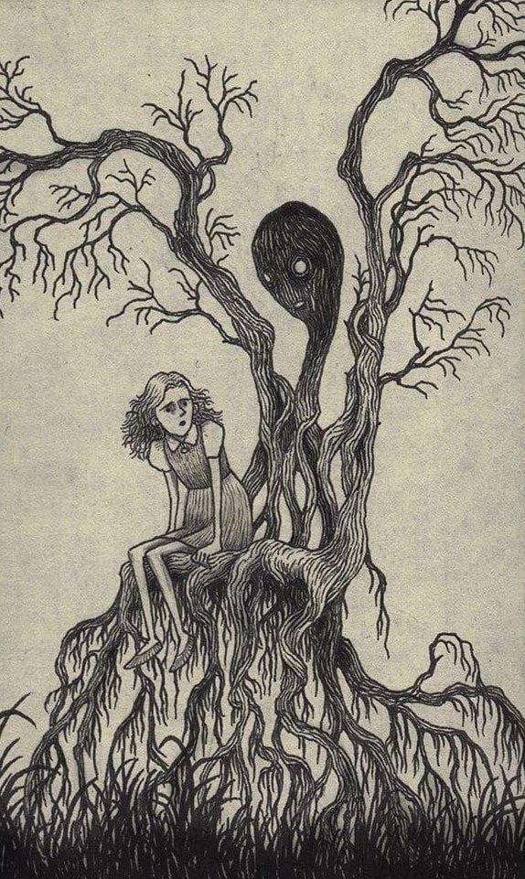 28. Место, где можно присесть иллюстрация, рисунок, страх, ужас, фантазия, художник