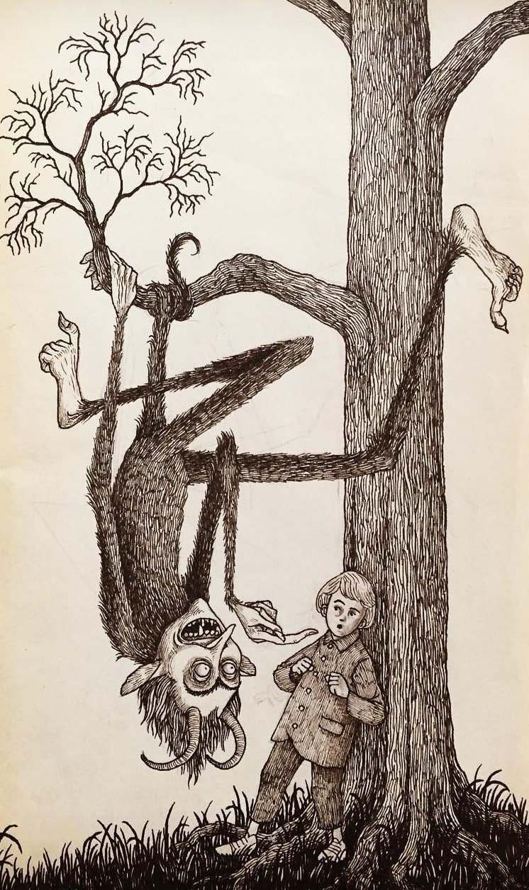 8. Не сворачивай с дороги, малыш иллюстрация, рисунок, страх, ужас, фантазия, художник