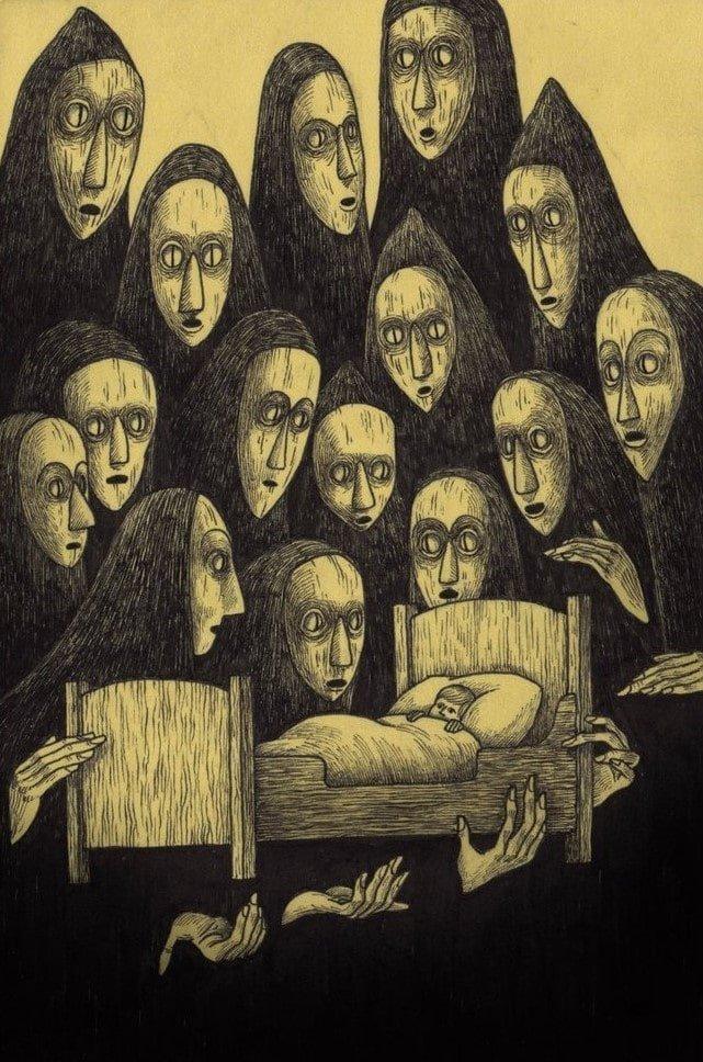 30. Они смотрят, пока ты спишь иллюстрация, рисунок, страх, ужас, фантазия, художник
