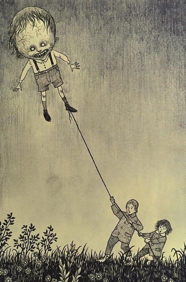 14. Унесённый ветром иллюстрация, рисунок, страх, ужас, фантазия, художник