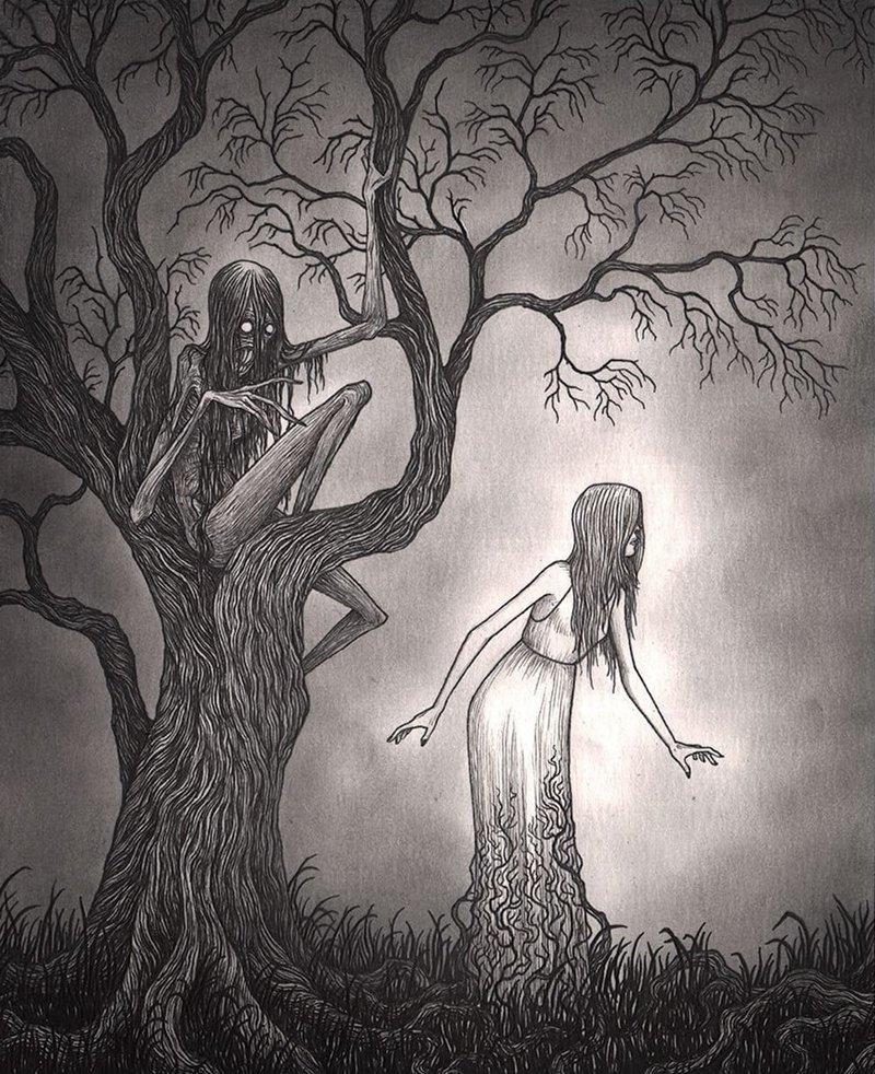 6. Тьма поглощает её иллюстрация, рисунок, страх, ужас, фантазия, художник
