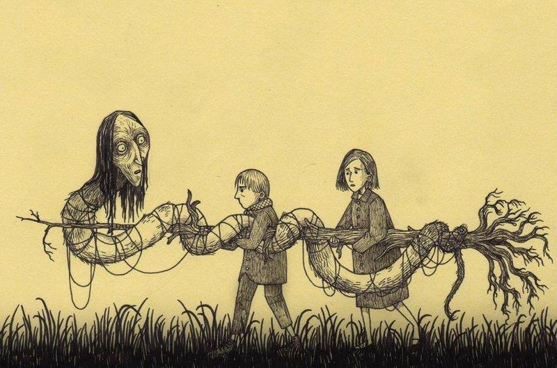 3. Морской змей с почти человеческой головой иллюстрация, рисунок, страх, ужас, фантазия, художник