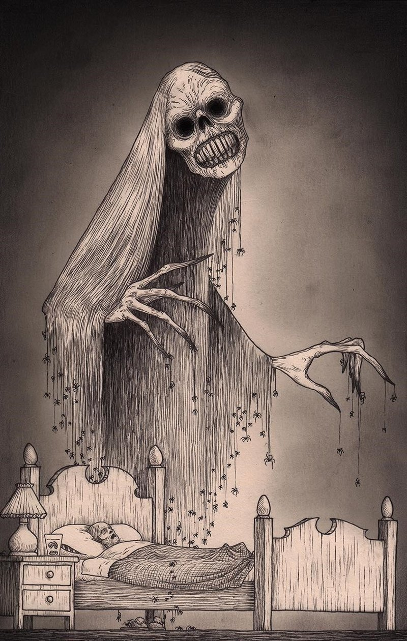 21. Смертное ложе иллюстрация, рисунок, страх, ужас, фантазия, художник
