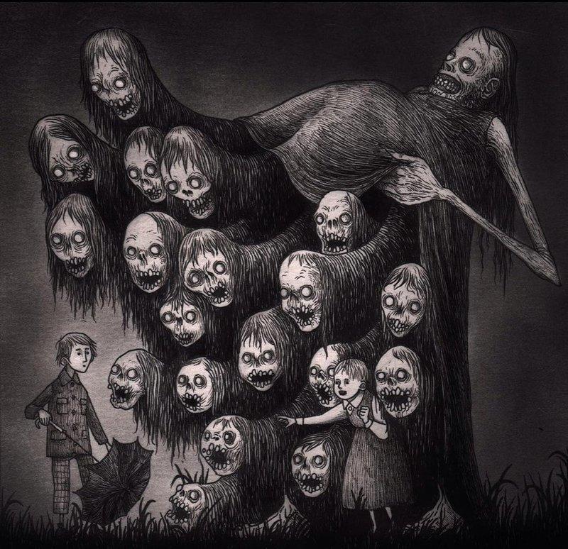 25. Разодета в пух и прах иллюстрация, рисунок, страх, ужас, фантазия, художник
