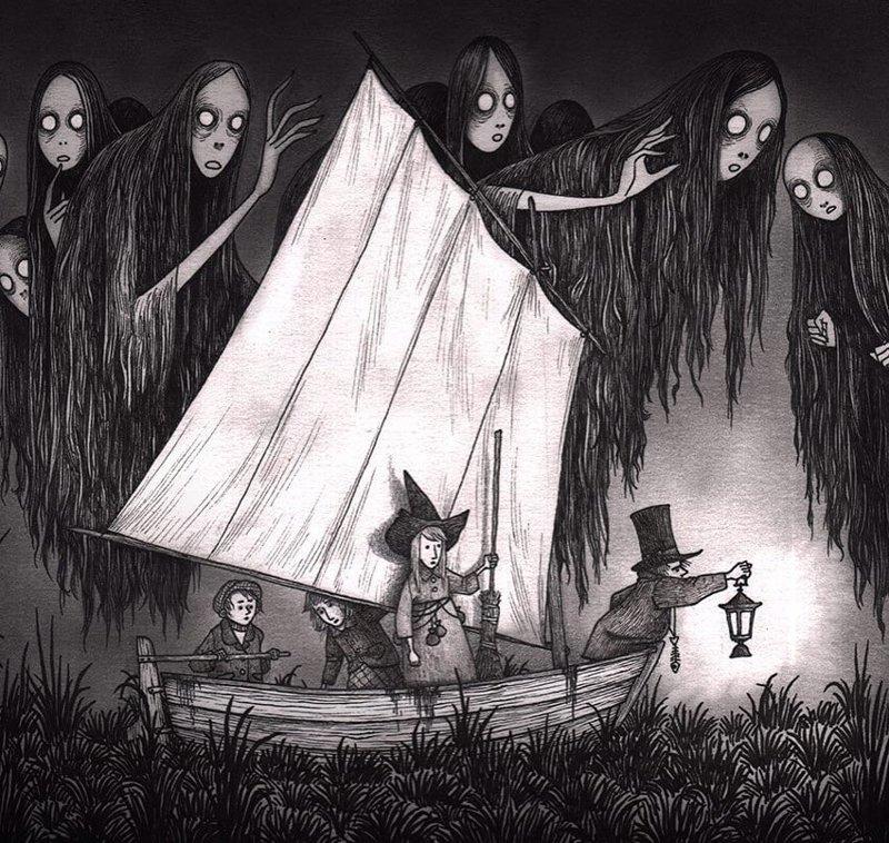 26. По пути вникуда иллюстрация, рисунок, страх, ужас, фантазия, художник