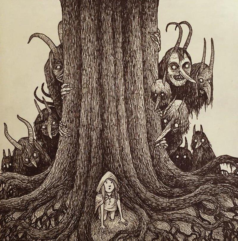 12. С другой стороны дерева иллюстрация, рисунок, страх, ужас, фантазия, художник