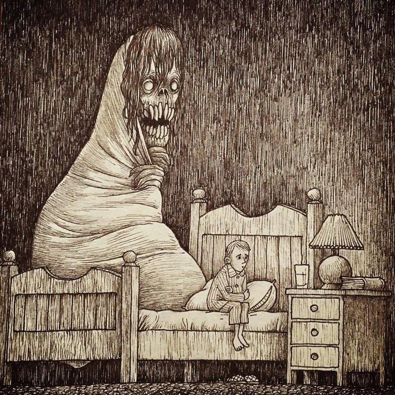 10. Никогда не одинок иллюстрация, рисунок, страх, ужас, фантазия, художник