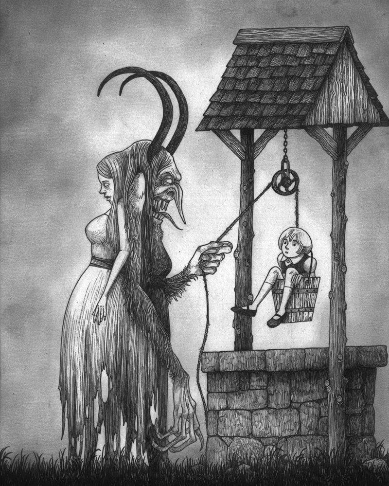 24. Перхта иллюстрация, рисунок, страх, ужас, фантазия, художник