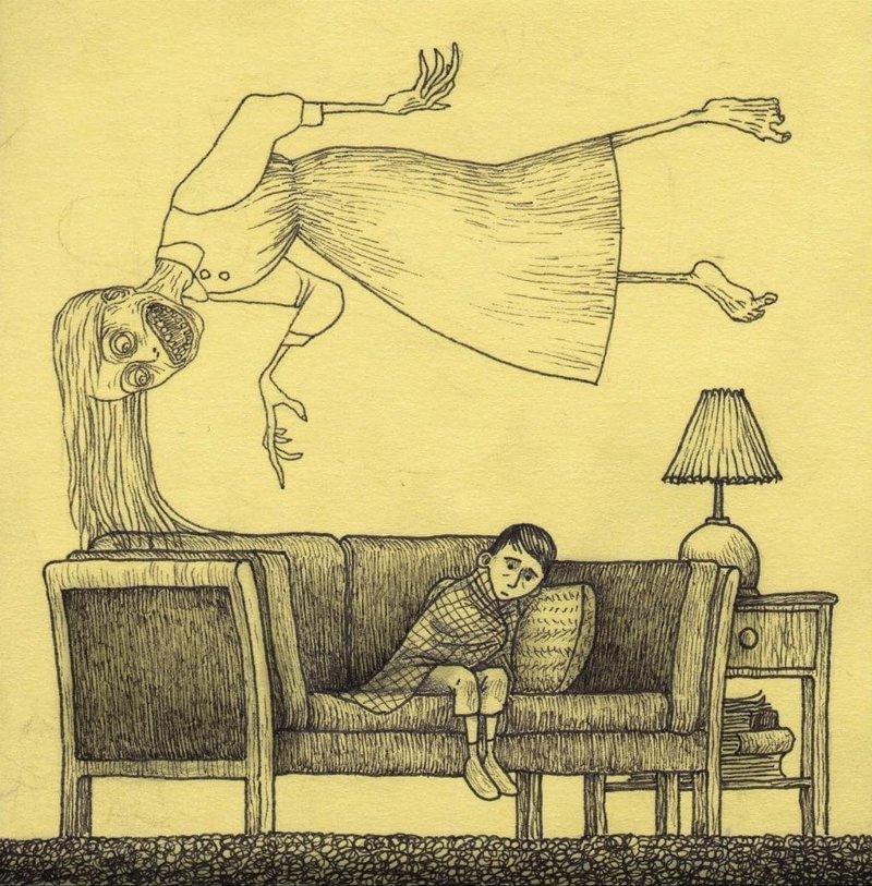 7. Призраки иллюстрация, рисунок, страх, ужас, фантазия, художник