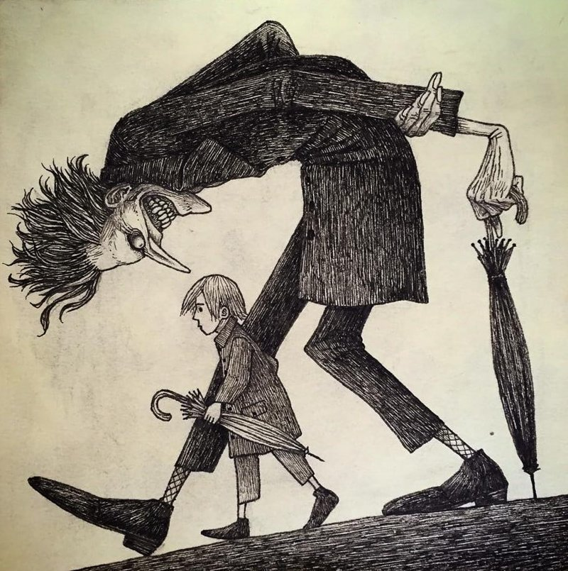 11. Оставьте меня в покое, пожалуйста иллюстрация, рисунок, страх, ужас, фантазия, художник