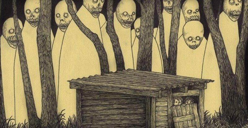 Художник, рисующий кошмары иллюстрация, рисунок, страх, ужас, фантазия, художник